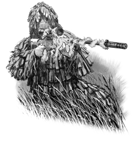 Johnny Shumate's preliminary sketch for colour plate of a Spetsnaz sniper